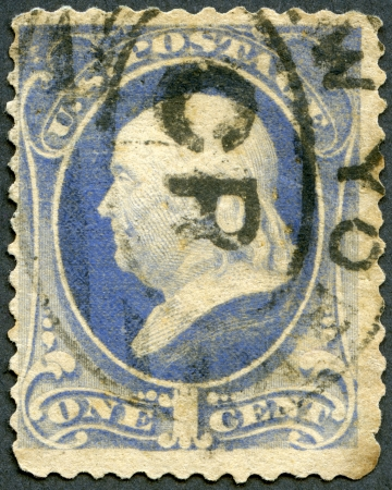 postmaster: UNITED STATES OF AMERICA - CIRCA 1870s: A stamp printed in USA shows President Benjamin Franklin, circa 1870s