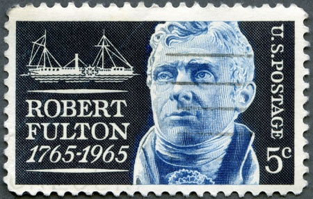 sates: USA - CIRCA 1965: A stamp printed in USA shows Robert Fulton (1765-1815) and Clermont, inventor of the 1st commercial steamship, circa 1965