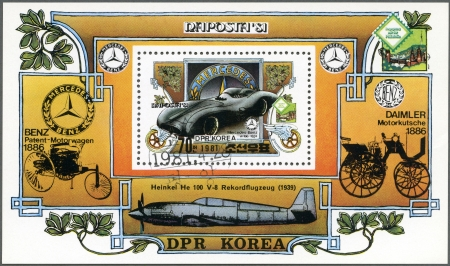 81: NORTH KOREA - CIRCA 1981: A stamp printed in North Korea shows Mercedes-Benz W196, 1954 automobile, Naposta-81 International Stamp Exhibition, Stuttgart, circa 1981