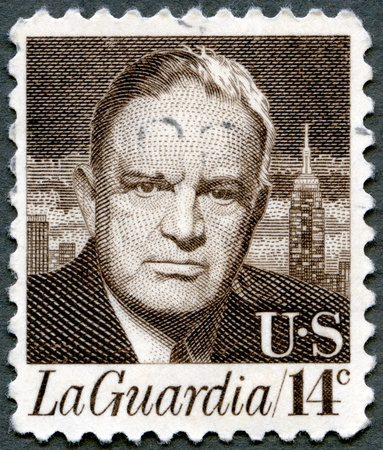 USA - CIRCA 1972: A stamp printed in USA shows portrait of Fiorello Henry LaGuardia (1882–1947), circa 1972 Stock Photo - 15246910