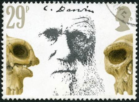 GREAT BRITAIN - CIRCA 1982: A stamp printed in Great Britain shows Charles Darwin and Skulls, Death Centenary of Charles Darwin (1809-1882), circa 1982 Stock Photo - 15246913