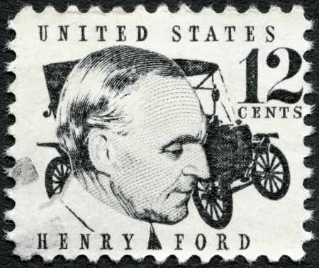 henry: UNITED STATES OF AMERICA - CIRCA 1968: A stamp printed in USA shows Henry Ford (1863-1947) and car Ford Model T from 1909, circa 1968 Editorial