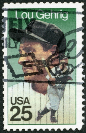 yankees: UNITED STATES OF AMERICA - CIRCA 1989: A stamp printed in USA shows Henry Louis