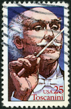 arturo: UNITED STATES OF AMERICA - CIRCA 1989: A stamp printed in USA shows Arturo Toscanini (1867-1975), Italian Conductor, circa 1989 Editorial