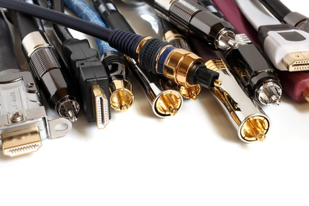 Group  of audiovideo cables on a white background Stock Photo