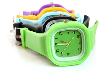 Wristwatches on a white background