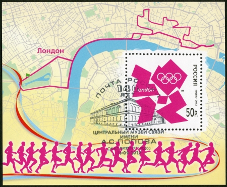 RUSSIA - CIRCA 2012: A stamp printed in Russia shows XXX Olympic Games in London, circa 2012