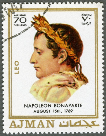 AJMAN - CIRCA 1970: A stamp printed in Ajman shows Napoleon Bonaparte (1769-1821), circa 1970 Stock Photo - 15461125