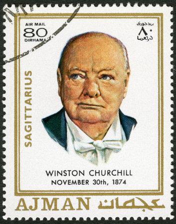 stamp collecting: AJMAN - CIRCA 1970: A stamp printed in Ajman shows Winston Churchill (1874-1965), circa 1970