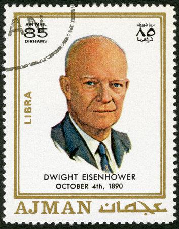 AJMAN - CIRCA 1970: A stamp printed in Ajman shows Dwight David Eisenhower (1890-1969), circa 1970 Stock Photo - 15461120