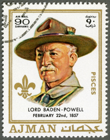 AJMAN - CIRCA 1970: A stamp printed in Ajman shows Robert Baden-Powell (1857-1941), circa 1970 Stock Photo - 15461129