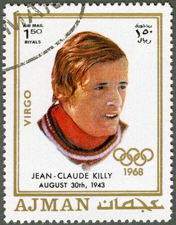 AJMAN - CIRCA 1970: A stamp printed in Ajman shows Jean-Claude Killy (born 1943), circa 1970 Stock Photo - 15461126