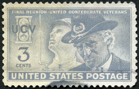 USA - CIRCA 1951: A stamp printed in USA shows Confederate Soldier & United Confederate Veteran, Final reunion of the United Confederate Veterans, circa 1951 Stock Photo - 15461130