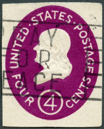 postmaster: USA - CIRCA 1952: A stamp printed in USA shows President Benjamin Franklin, circa 1952