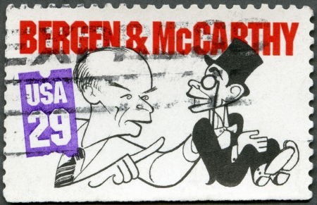 USA - CIRCA 1991: A stamp printed in USA shows Edgar Bergen and Charlie McCarthy, circa 1991 Stock Photo - 15509390