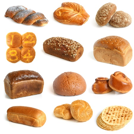 wholemeal: Bread collection on a white background