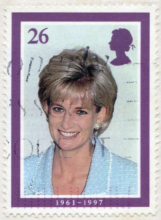 GREAT BRITAIN - CIRCA 1998: A stamp printed in Great Britain shows Diana, Princess of Wales (1961-1997), circa 1998