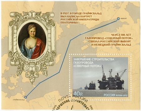 RUSSIA - CIRCA 2012  A stamp printed in Russia shows Completion construction of the pipeline  Nord Stream , circa 2012 Stock Photo - 15670762