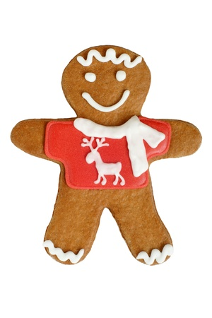 Christmas gingerbread cookie isolated on a white background photo