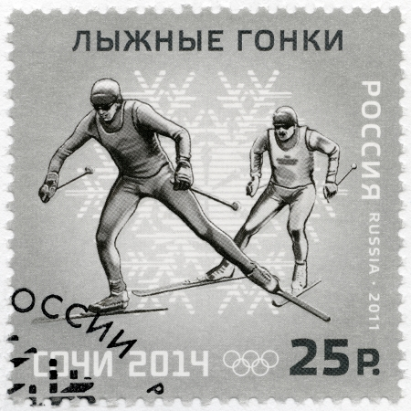 RUSSIA - CIRCA 2011: A stamp printed in Russia shows XXII Olympic Winter Games in Sochi 2014, Olympic winter Sports, Skiing, circa 2011