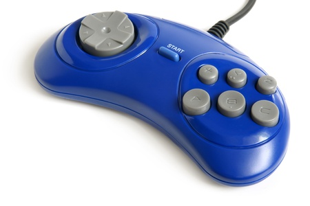 Blue game controller on a white background Stock Photo - 15710506