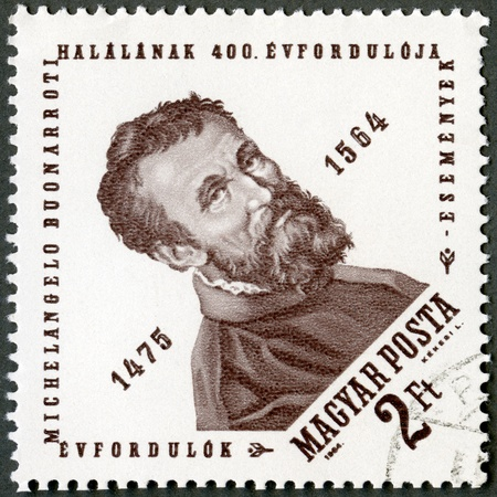 HUNGARY - CIRCA 1964: A stamp printed by Hungary shows Michelangelo, Michelangelos 400th death anniversary, circa 1964