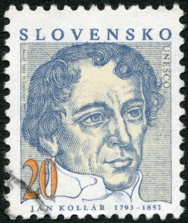 SLOVAKIA - CIRCA 1993  A stamp printed in Slovakia shows Jan Kollar  1793-1852 , writer, circa 1993 Stock Photo - 15724092