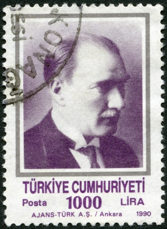 TURKEY - CIRCA 1990  A stamp printed in Turkey shows Kemal Ataturk  1881-1938 , circa 1990 Stock Photo - 15724093