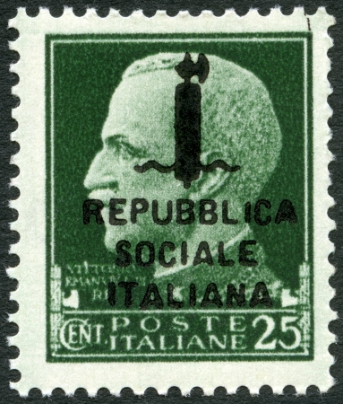 ITALY - CIRCA 1944  A stamp printed in Italy shows Victor Emmanuel III  1869-1947 , circa 1944 Stock Photo - 15724091