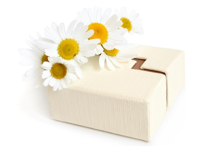 Camomiles and gift box on a white background photo