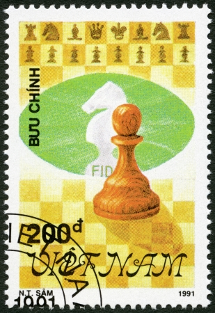 postmail: VIETNAM - CIRCA 1991: A stamp printed in Vietnam shows Pawn, series Chess pieces, circa 1991