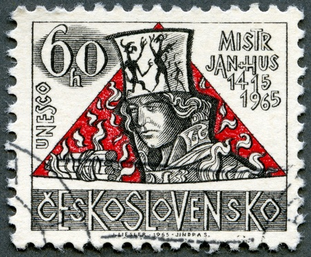 postal card: CZECHOSLOVAKIA - CIRCA 1965: A stamp printed in Czechoslovakia shows Jan Hus, the 550th anniversary of the death of Hus (1369-1415), religious reformer, circa 1965 Editorial