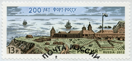 RUSSIA - CIRCA 2012: A stamp printed in Russia dedicated to the 200th Anniversary of Fort Ross, circa 2012 Stock Photo - 15837677