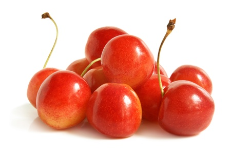 ripeness: Cherries on a white background