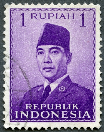 INDONESIA - CIRCA 1951: A stamp printed in Indonesia shows President Sukarno (1901-1970), circa 1951 Stock Photo - 15855210