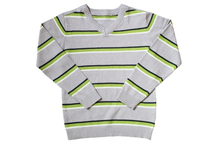Children's wear - striped sweater isolated on a white background photo