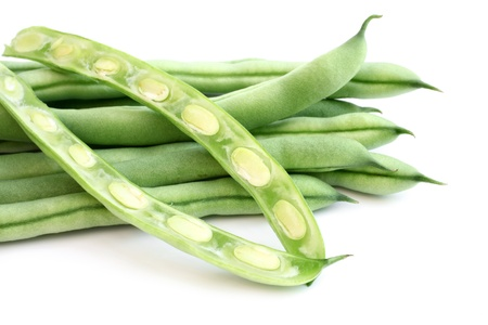 haricot vert: String beans on a white background Stock Photo