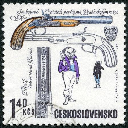 duelling: CZECHOSLOVAKIA - CIRCA 1969: A stamp printed in Czechoslovakia shows Duelling pistols, from Lebeda workshop, Prague, 1835, series Historical Firearms, circa 1969