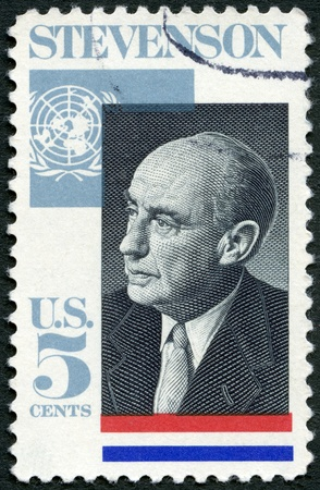 UNITED STATES OF AMERICA - CIRCA 1965: A stamp printed in USA shows Adlai E. Stevenson II (1900-1965), Governor of Illinois, US Ambassador to the UN, 1961-65, circa 1965 Stock Photo - 16042861