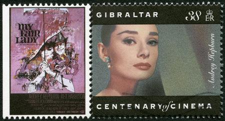 GIBRALTAR - CIRCA 1995: A stamp printed in Gibraltar shows Audrey Hepburn (1929-1993), actress, circa 1995
