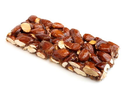 candy bar: Candied almonds on a white background
