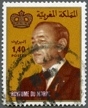 MOROCCO - CIRCA 1983: A stamp printed in Morocco shows King Hassan II (Moulay Hassan II Muhammad ben Yusuf) (1929-1999), circa 1983 Stock Photo - 16042846