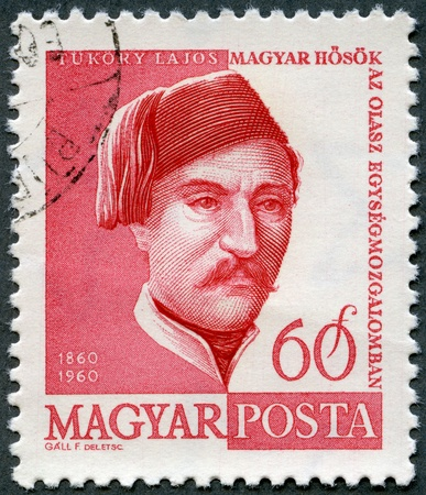 HUNGARY - CIRCA 1960: A stamp printed in Hungary shows Lajos Tukory (1830-1860), circa 1960