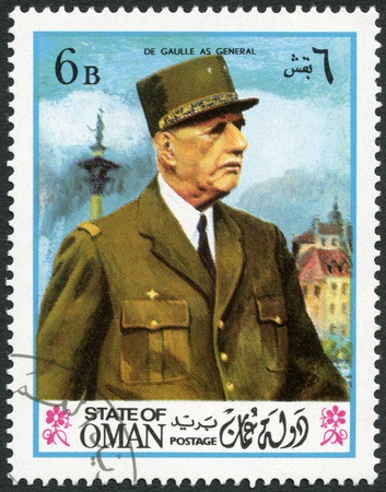 STATE OF OMAN - CIRCA 1972: A stamp printed in State of Oman shows Charles de Gaulle (1890-1970), circa 1972 Stock Photo - 16127777