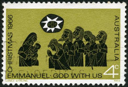 AUSTRALIA - CIRCA 1966  A stamp printed in Australia shows Adoration of the Shepherds, Christmas, circa 1966 Stock Photo - 16127778