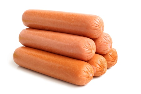 dog food: Sausages on a white background