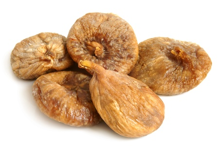dried up: Dried figs on a white background Stock Photo