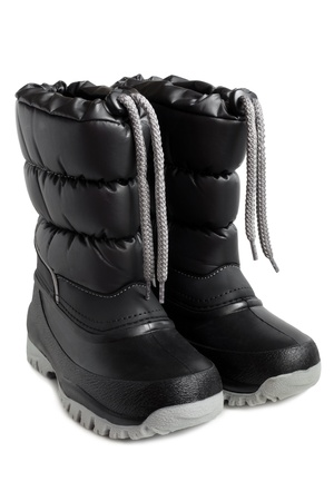 gum boots: Children winter boot on a white background