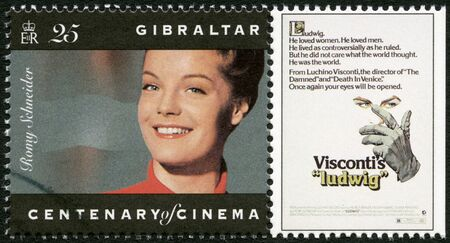 GIBRALTAR - CIRCA 1995: A stamp printed in Gibraltar shows Romy Schneider (1938-1982), actress, circa 1995