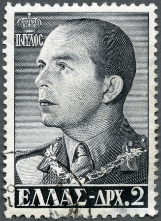 GREECE - CIRCA 1956: A stamp printed in Greece shows King Paul (1901-1964), circa 1956 Stock Photo - 16232888
